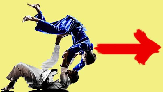 Image showing BJJ Madison Grapplers performing a jiu jitsu rolling throw, with arrow pointing to schedule form.